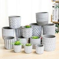 Nordic Creative Cement Flower Pot Round Modern Minimalist Floor Basin Living Room Indoor Courtyard Green Plant Wy10172