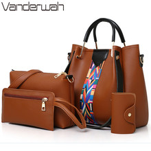 4 Sets New High Quality Pu Leather Luxury Handbags Women Bags Designer Ladies Hand Shoulder Crossbody Bags for Women Sac A Main(China)
