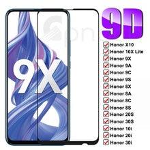9D Schutz Glas Für Huawei Honor 10X Lite X10 9X 9A 9C 9S 8X 8A 8C 8S 20S 30S 10i 20i 30i Ausgeglichenes Glas-schirm-schutz