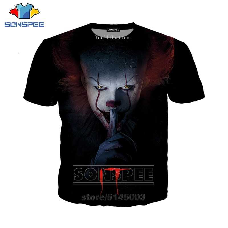 SONSPEE Summer Men Women Pennywise Sweatshirt 3D Print It Chapter Two T Shirt Short Sleeve Hip Hop Top O Neck Pullover C063-05