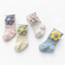 New warm baby socks cute flowers soft and non-slip baby foot sock