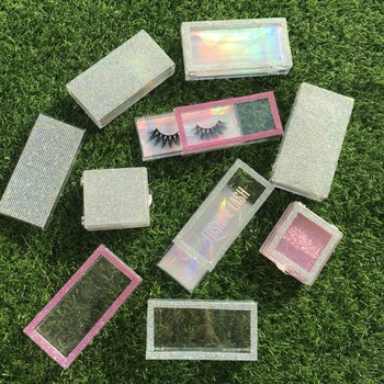 Empty diamond lash packaging 10pcs/lot 50pcs/lot rhinestone eyelash boxes mink eyelashes vendor 50pcs lot d2118