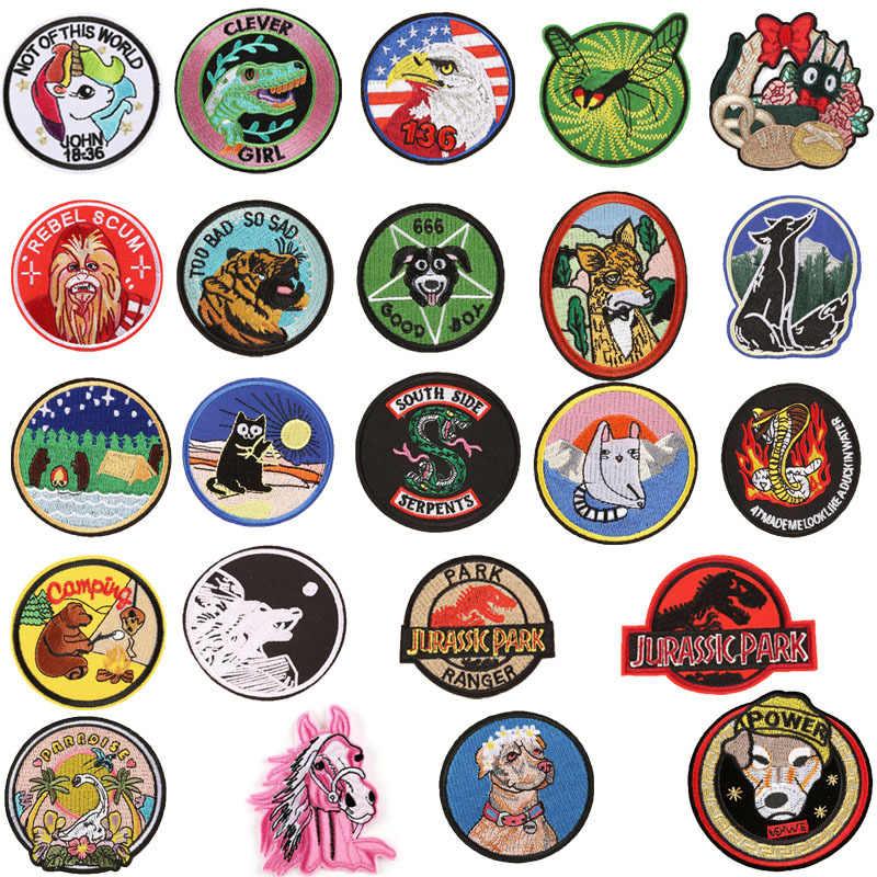 Schedel Ronde Voor Kleding Dieren Punk Biker Patch Badges Ijzer Op Stickers Doek Patch Geborduurde Decoratieve Diy Jas Jeans