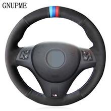 Hand-stitched Black Genuine Leather Suede Car Steering Wheel Cover for BMW M Sport M3 E90 E91 E92 E93 E87 E81 E82 E88