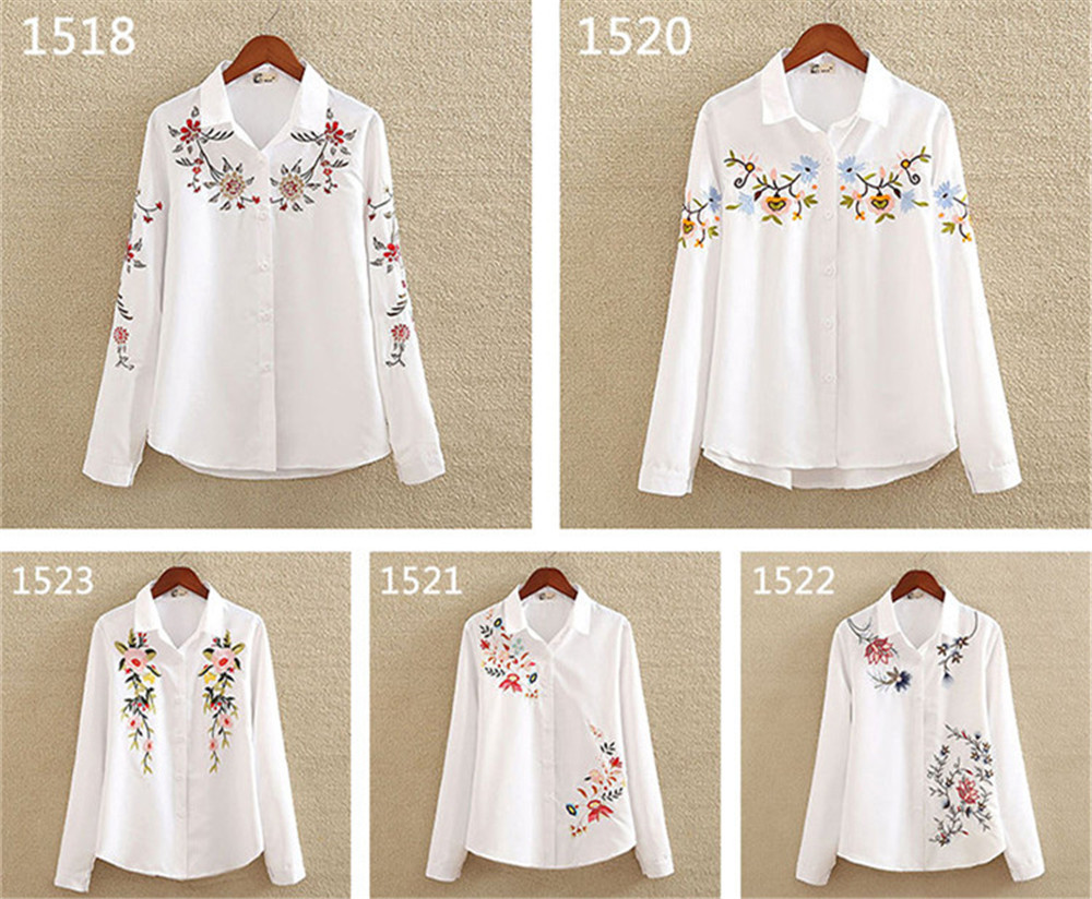 Floral Embroidery White Shirt Blouse  2020 Spring Casual TopTurn Down Collar Long Sleeve Cotton Women's Blouse Feminina 1518 (7)