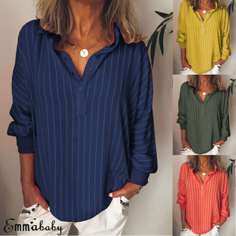 Women Blouses And Tops 2019 Striped Print Shirts Oversized Button V Neck Shirt Tops Ethnic Blouse Jumper Tops