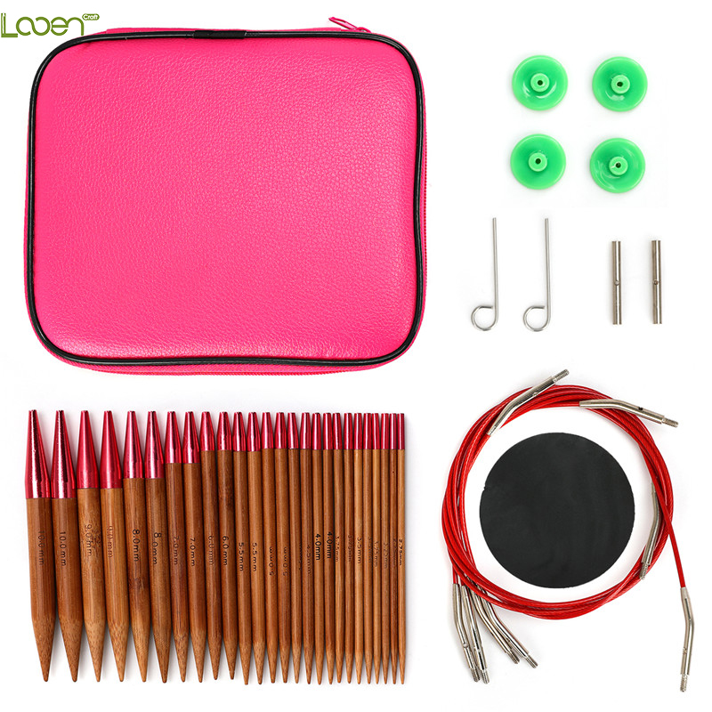 Looen Interchangeable Circular Knitting Needle Set 26pcs Carbonized Bamboo Crochet Needles for Knitting Yarn Weave Tools For Mom