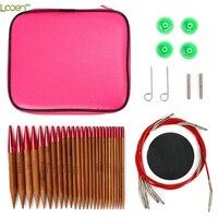 Looen conjunto de agulhas de tricô circular intercambiáveis 26 pçs carbonizado de bambu crochet agulhas para tricô fio tecer ferramentas para a mãe