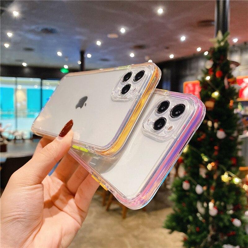 Funda de teléfono de lujo con marco láser para iPhone, carcasa transparente a prueba de golpes para iPhone 11 Pro 12 Pro Max XS Max 7 8 Plus 12 Mini X XR SE 2020 3
