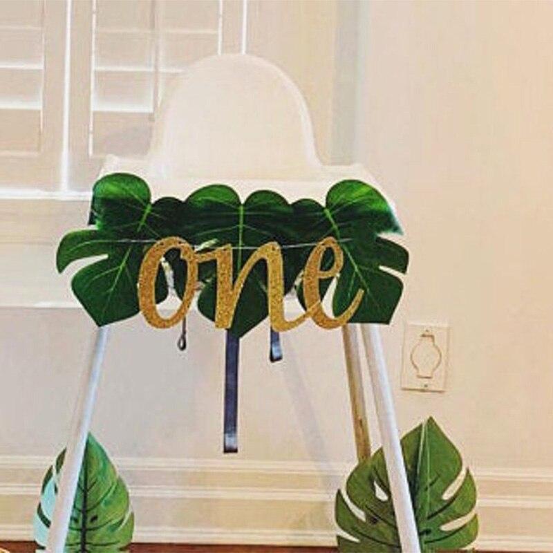 Мальчик девочка первый динозавр лев Король дикая день рождения тропические джунгли сафари животное высокий стул баннер украшение подарок