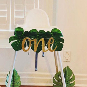 Boy girl 1st first Dinosaur Lion King Wild one happy Birthday tropical jungle Safari animal High Chair banner decoration gift