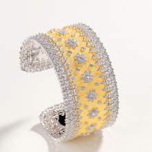 Veryins Cuff Bangle White and Yellow Gold Color Sterling S925 Luxury Bangle for Women