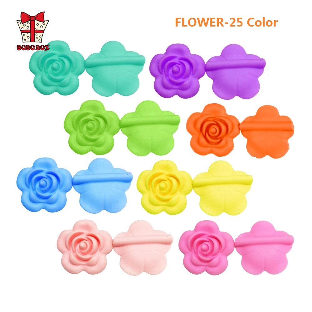 BOBO.BOX 5pc Rose Silicone Beads Flower Chewable Baby Teething Toys Food Grade Silicone For Diy Chain Teething Necklace BPA Free