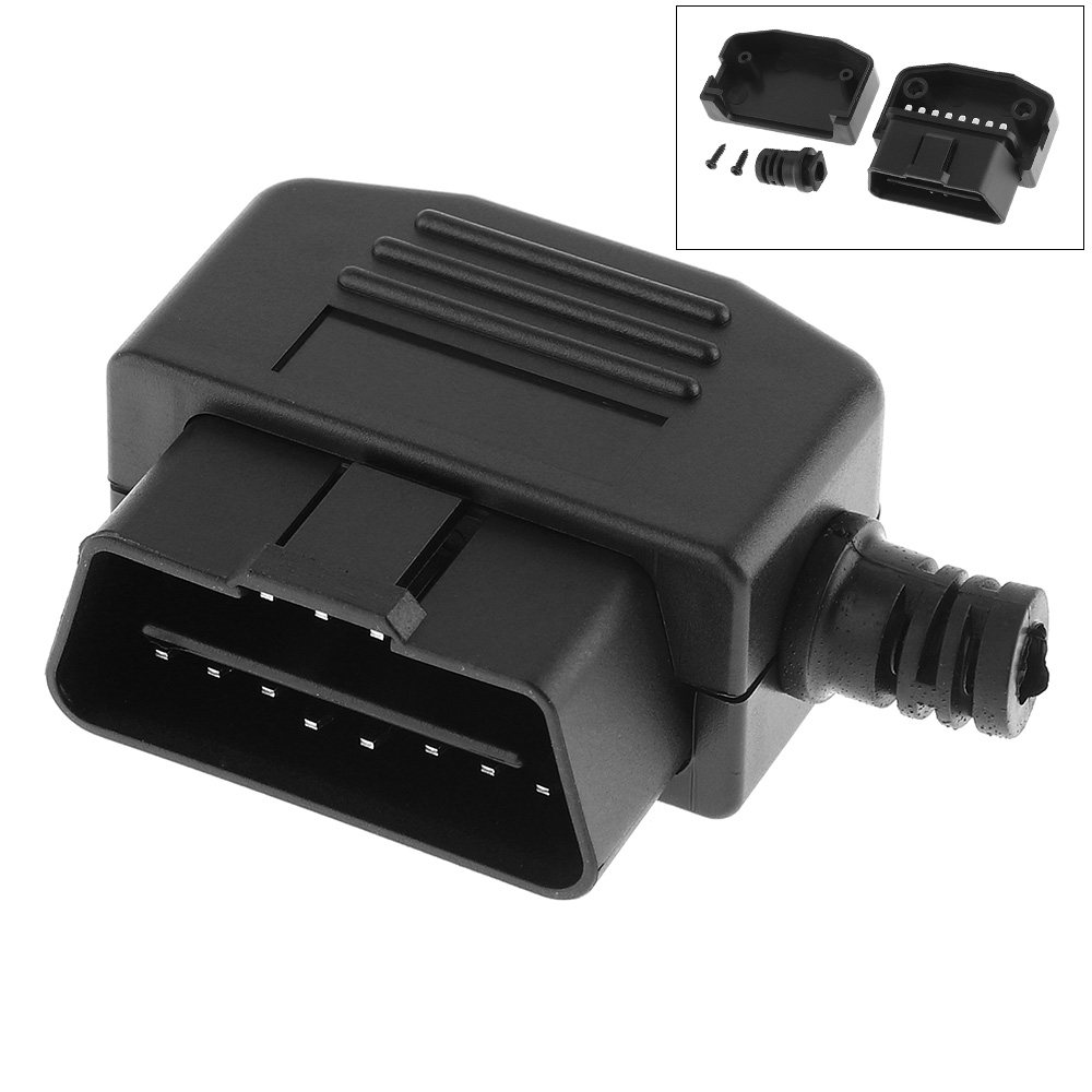 OBD II OBD2 L Type 16 Pin Male Auto Car Connector Cable Wire Sockets Connector Plug With Shell And Screw