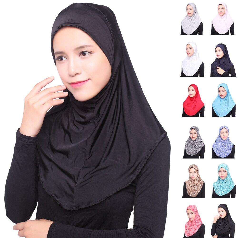 Women Muslim Lace Trim Cotton Hijab Long Scarf Islamic Lady Headwear Arab Shawls