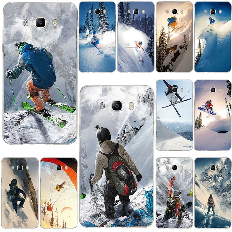 For Samsung Galaxy A3 A5 A7 J3 J5 J4 J6 J7 J8 2015 2016 2017 2018 Shell Soft TPU Phone Cover Snow Or Die Ski Snowboard Sports