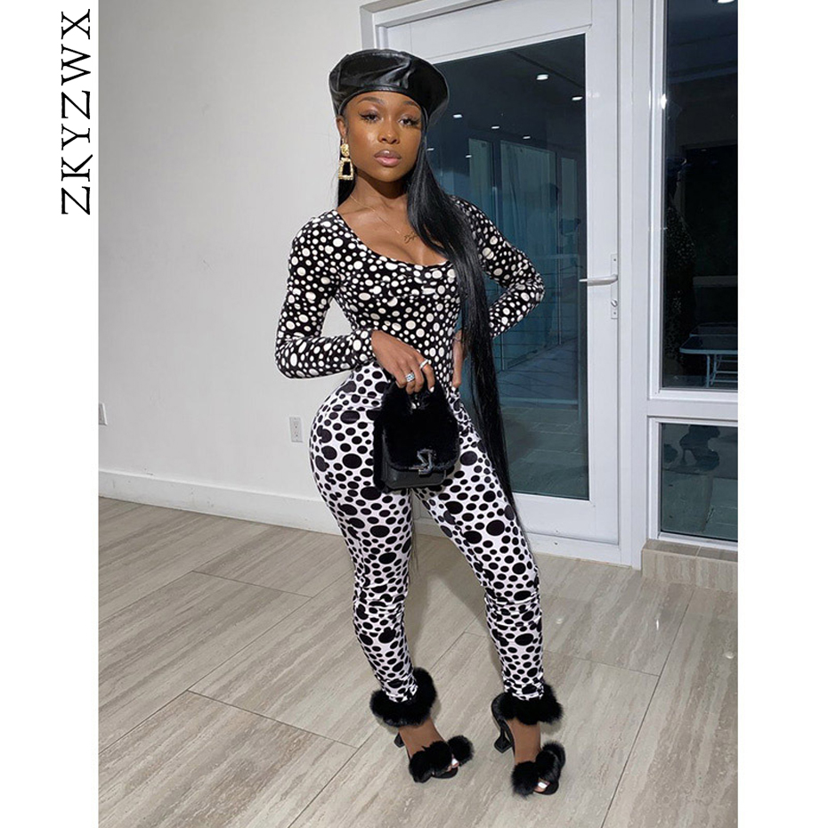 ZKYZWX Sexy Dot 2 Piece Set Women Rave Festival Clothing Long Sleeve Bodysuit Top And Pant Two Piece Club Outfits Matching Sets