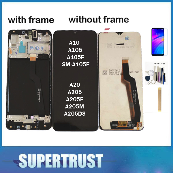 For <font><b>Samsung</b></font> Galaxy <font><b>A10</b></font> A105 A105F SM-A105F A20 A205 A205F A205M <font><b>LCD</b></font> Display With Touch Sensor Glass Digitizer Black With Kit image