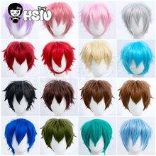Hhsiu бренд cosplay косплей парик 17 цветов короткие волосы Небесно-Голубой серебряный светильник розовый коричневый Таро Зеленый Вечерние синте...