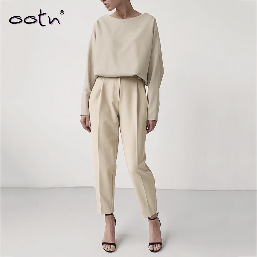 Polyester Slim High Waist Pants Woman Clothes 2019 Spring Autumn Solid Khaki Office Buttons Solid Trousers Mujer Streetwear