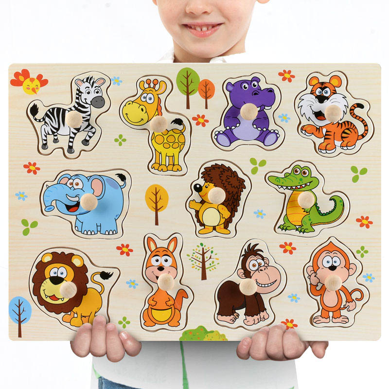 Montessori Wooden Puzzles Hand Grab Boards Toys Tangram Jigsaw Baby Educational Toys Cartoon Vehicle Animals Fruits 3D Puzzles 21