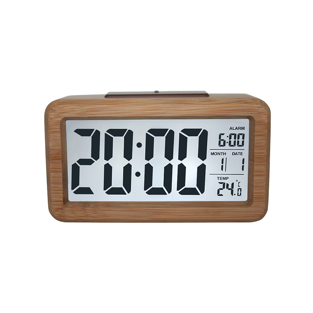Wooden Digital Alarm Clock,Smart Sensor Night Light with Snooze, Date, Temperature, 12/24Hr Switchable, Solid Wood Shell