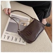 Women's Handbag Crocodile-Bag Baguette Good-Quality New-Style Lady Zipper Underarm Retro