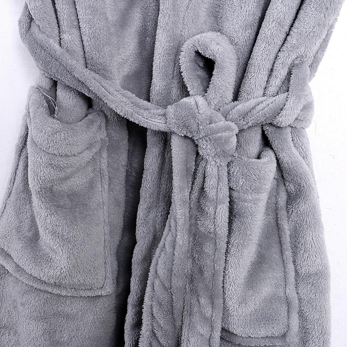 Men's Fall Long Sleepwear Flannel Robes Shawl Collar Fleece Bathrobe Spa Pajamas