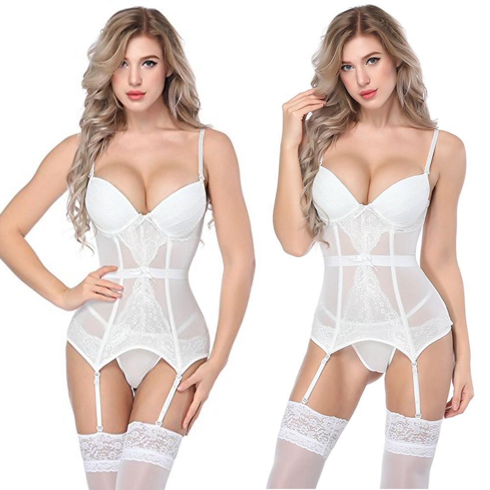 Women Sexy Underwear   Corset   Erotic Korse Transparent Lace Mesh   Corset   Top Lingerie Slim Waist   Bustier   Push Up Corselet