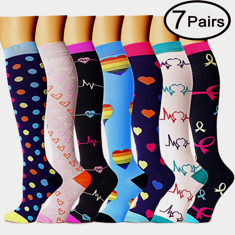 Men women(4/5/6/7/8 pairs)15 20 MM compression socks are the best for graduating athletic and medical running flying traveling