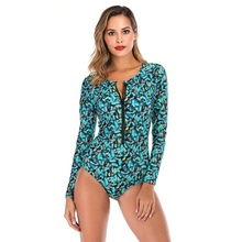 цена на New Sexy Swimwear. Women Long Sleeve Comfortable Swimsuit Printed. Front Zipper Diving One Piece Swimsuit Beach Swimsuit.