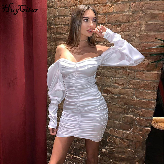 Long puff sleeve slash neck satin pleated  solid party elegant streetwear 2