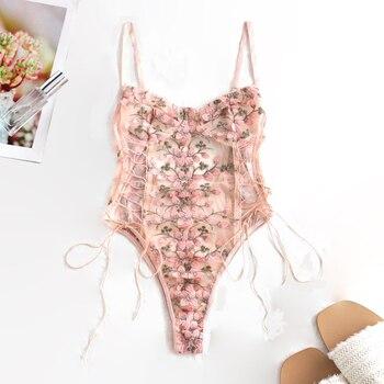 Women Teddy lingerie Sexy Underwear Erotic Corset Lace Mesh Sleepwear Nightwear  Embroidered strap one-piece sexy pajamas