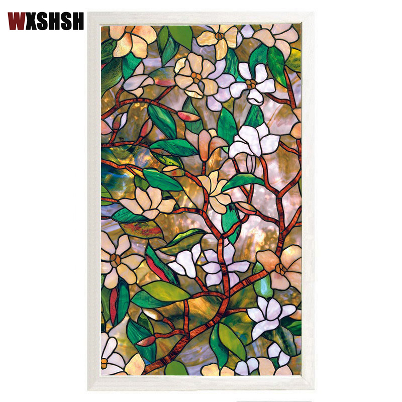 Magnolia Window Film Static Cling Heat-Control Privacy Protection Drop-Shipping Reusable Removable Glass Film Home Decoration
