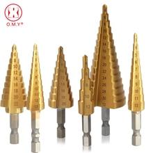 Step Drill Bit Spiral Flute HSS Steel Cone Titanium Coated Mini Drill Bit Tool Set Hole Cutter 3-12/13mm 4-12/20/22/32mm professional practical unique titanium coated 3 13mm 11 step drill bit 1 4 hexagonal hss carbon steel hex shank tool for wood