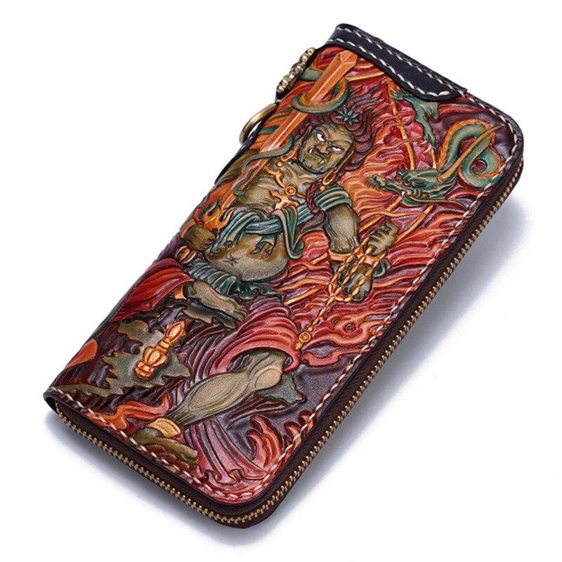 High-grade Vintage Handmade Acalanatha Wallets Zipper Purses Men Long Clutch Vegetable Tanned Leather Wallet