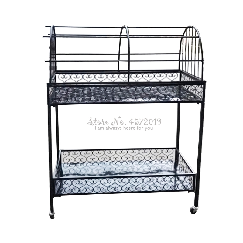 Wheeled Flower Stand Wrought Iron Multi-layer Floor Balcony Flower Shelf Living Room Hanging Orchid Flower Pot Rack Indoor
