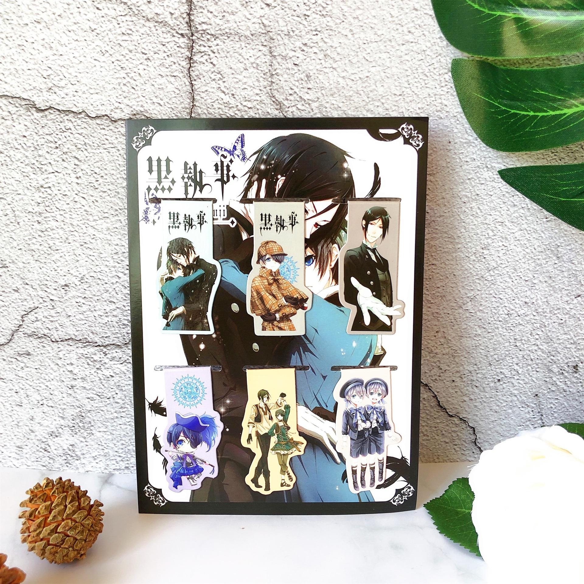 6pcs Kuroshitsuji Anime Magnetic Bookmark Cartoon Magnet Bookmark Child Student Kawaii Gift Bookmarks Office Stationery