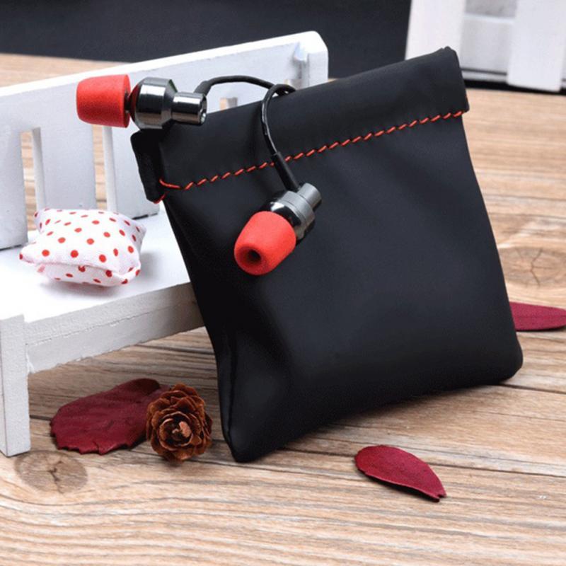 Black Headphone Bag Leather Soft Storage Bag Pouch Case For Earphone Waterproof Carrying Case Headset Earphone Storage Bag