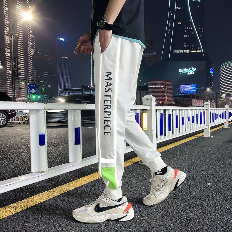 #2202 Black White Hip Hop Pants For Men Side Striped 3m Reflective Joggers Casual Pencil Harem Pants Thin Streetwear Trousers