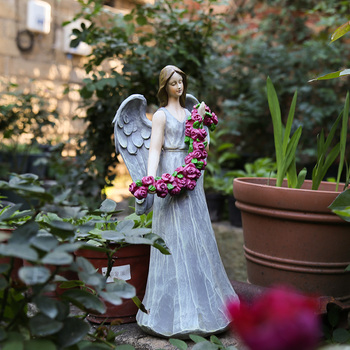 Flower Fairy Ornaments Courtyard Decoration Outdoor Garden American Country Horticulture Decoration Resin Character Angel