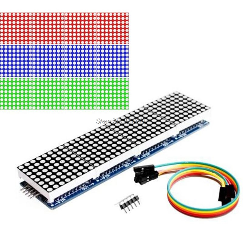 MAX7219 4 In 1 LED Display Dot Matrix Microcontroller MCU Control Module 5P Line Dropship