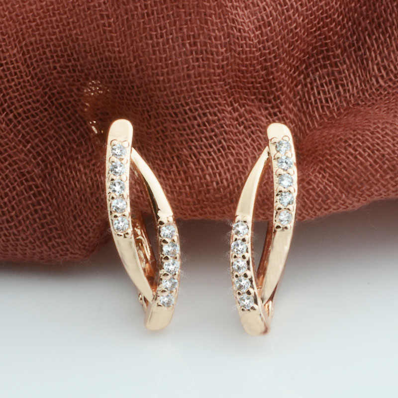 2 Style Hot Women 585 Rose Gold Color Crysral Hollow Earrings Drop Earrings Jewelry