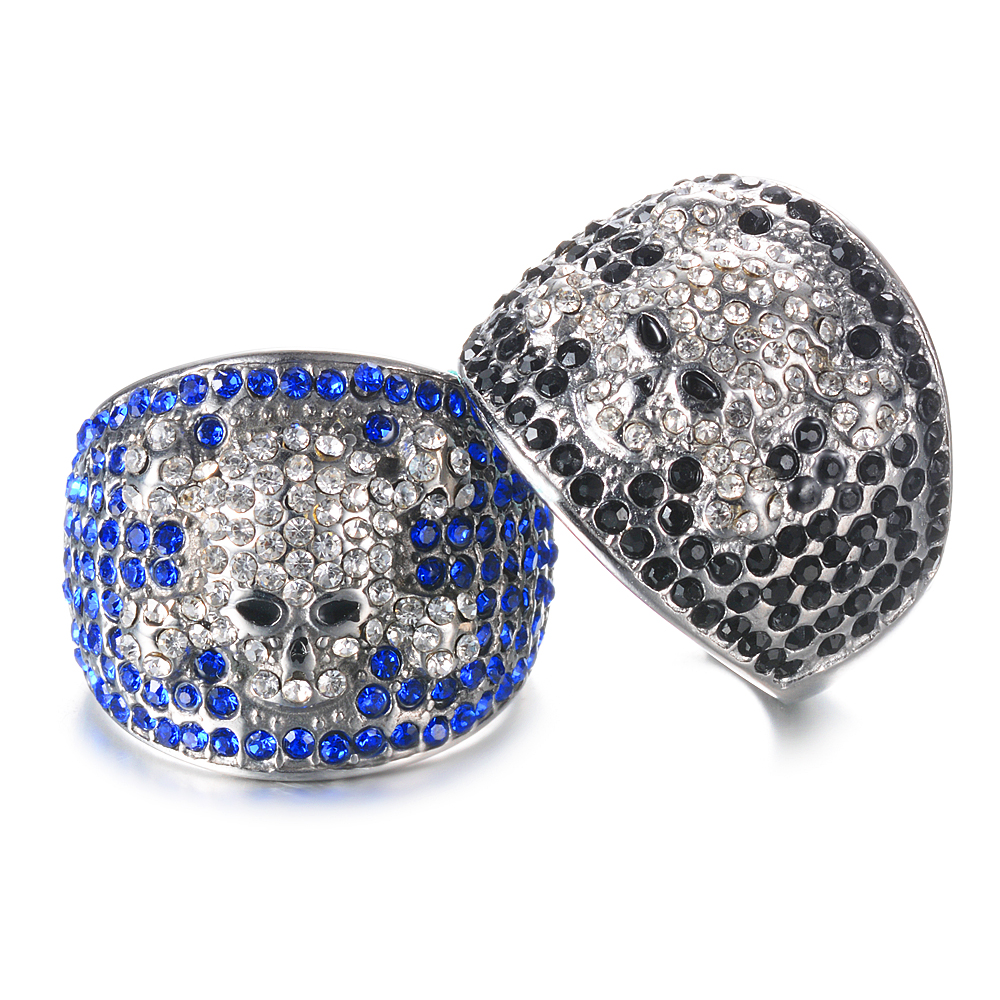 Punk Cubic Zirconia Skull Rings The Same Rocker Johnny Hallyday Jewelry Stainless Steel Hip Hop Ring SL-160