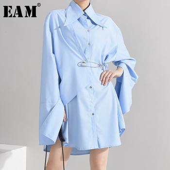 [EAM] Women Blue Brief Big Size Pin Stitch Blouse New Lapel Long Sleeve Loose Fit Shirt Fashion Tide Spring Autumn 2020 1W48905