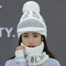 Chapéu feminino senhoras outono e inverno malha chapéu selvagem juventude proteção de orelha inverno quente mais veludo grosso bicicleta lã chapéu feminino