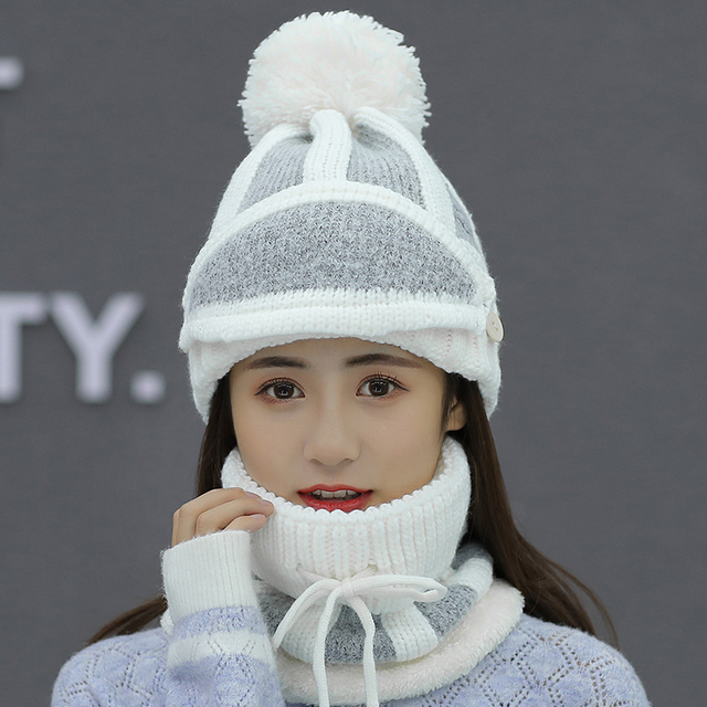 womens hat ladies autumn and winter knit hat wild youth ear protection winter warm plus velvet thick bike wool hat female