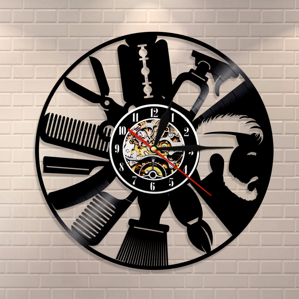 Hair Salon Tools Wall Clock Barber Wall Sign Clock Hairdressing Salon Interior Design Vinyl Record Wall Clock Hipster Gift Idea