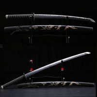 knife katana swords samurai three size carbon steel blade dragon hand curving sheath metal craft unsharp