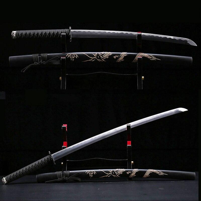 Knife Katana Swords Samurai Three Size Carbon Steel Blade Dragon Hand-curving Sheath Metal Craft Unsharp